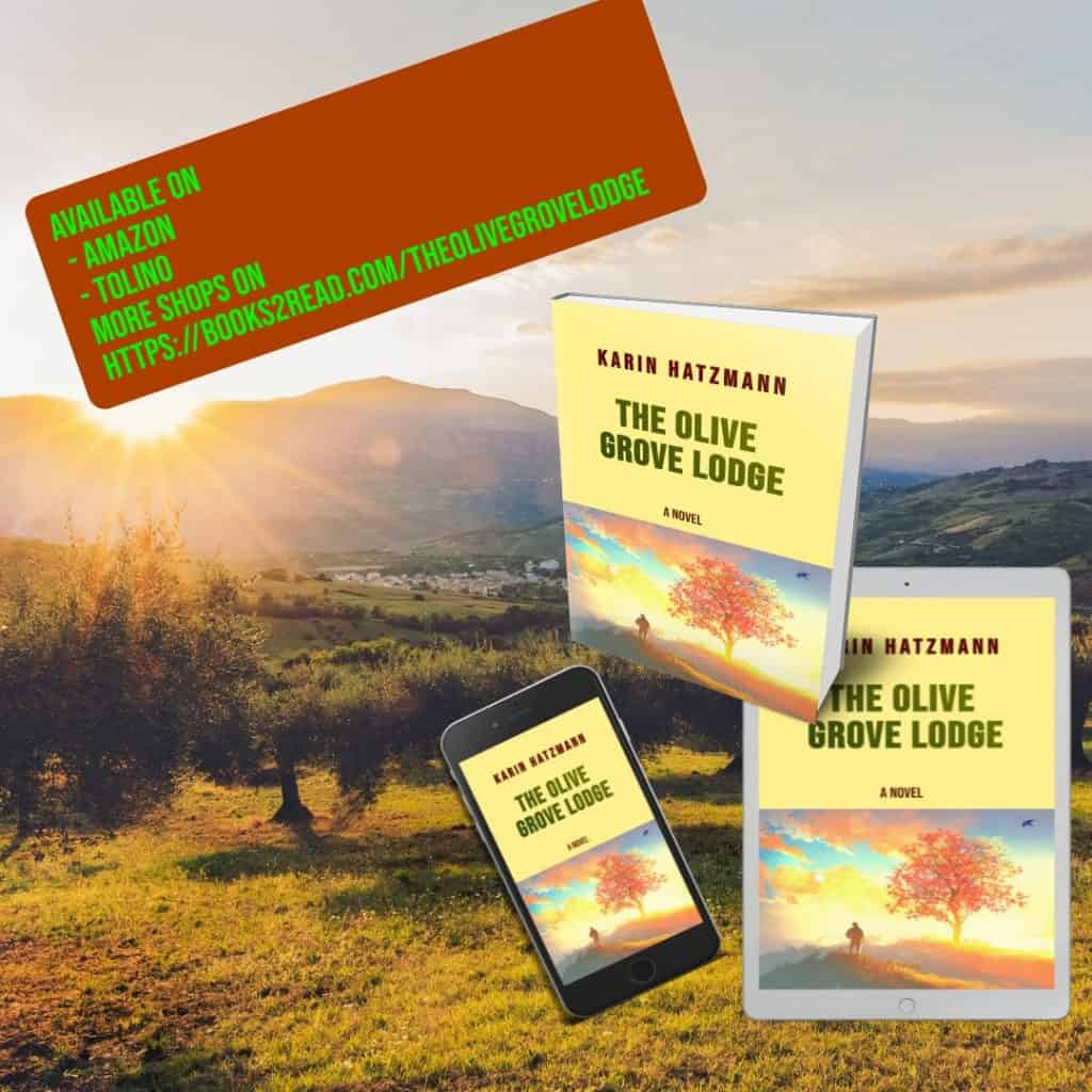 Book and ebook cover in front of an olive grove in the morning sun. Link to shops embedded